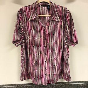 Maggie Barnes pink multi blouse 1x 18/20